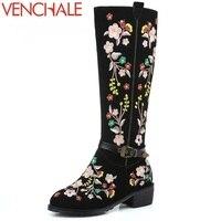 Venchale الركبة رومانسية موسم جديد وصول عالية الجودة نمط العرقية أزياء مشبك الجانب سستة النساء الربيع الأحذية