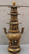 "SCY USPS di USA S1717 28 ""Chinese Bronze del Drago Lion Head Statua Tempio Stupa Bruciatore di Incenso Censer B0401(China)"