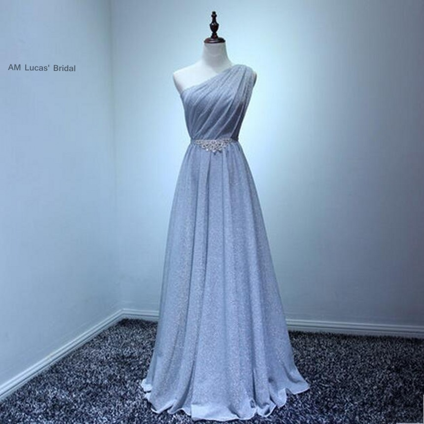 In Stock Long Straight   Evening     Dresses   One Shoulder Formal   Evening   Gowns For Wedding Party Prom   Dresses
