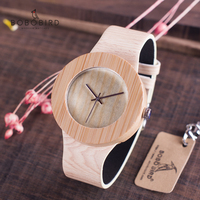 BOBO BIRD Men Women Watch Bamboo Wood Timepieces Quartz Wristwatch Leather Great Gift items relogio masculino Drop Shipping Women's Watches