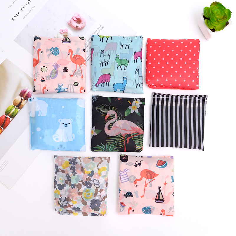 Women Foldable Eco Shopping Bag Tote Pouch Portable Reusable Grocery Storage Bag Cactus Flamingo Dots Free Shipping