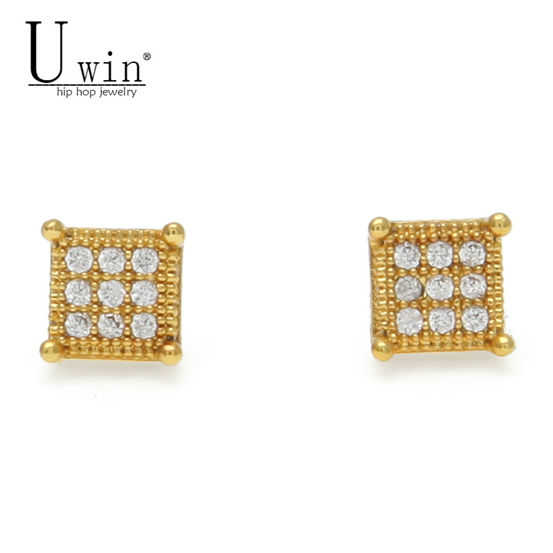 UWIN Iced Zircon Mens Stud Earrings Copper Material Gold Silver Color Square Earrings For Women Fashion Hip Hop Jewelry 7mmx7mm