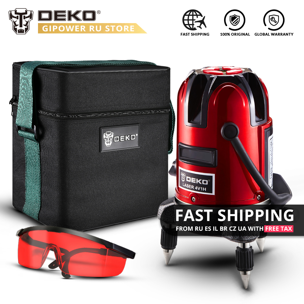 DEKO LL57 5 Lines 6 Points 360 Degrees Rotary 635nm Indoor/Outdoor Mode Receiver Vertical Horizontal Red Laser Level Oxford Bag mata bor amplas