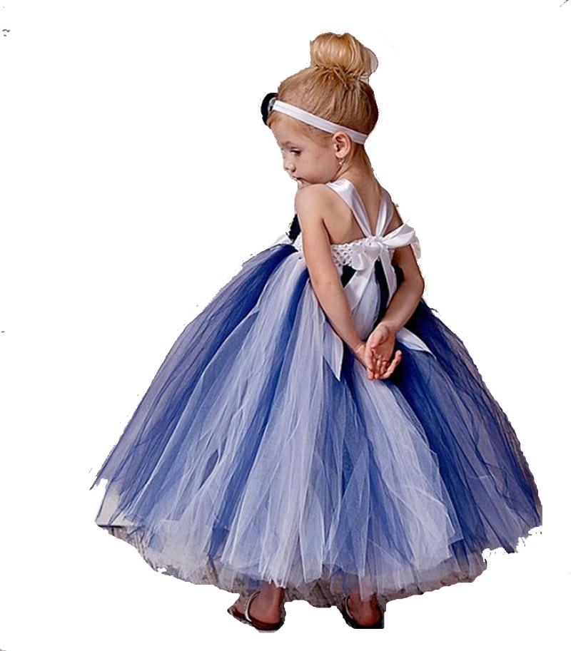 ФОТО 3-Year-Old Girl Blue, White Mixed TUTU Dress Korean Girl Children's Clothing Big Virgin Autumn Dress