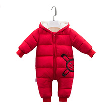 цена на 2018 Autumn Winter Coat  Boy Wear Newborn Snowsuit Baby Warm Rompers Down Cotton Hooded Girl Clothes