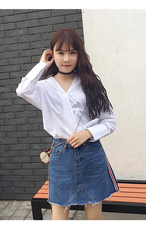 HTB1UoA2QXXXXXcrXXXXq6xXFXXXi - Denim Skirts Striped Slim A Line High Waist Blue Jeans Skirt PTC 154