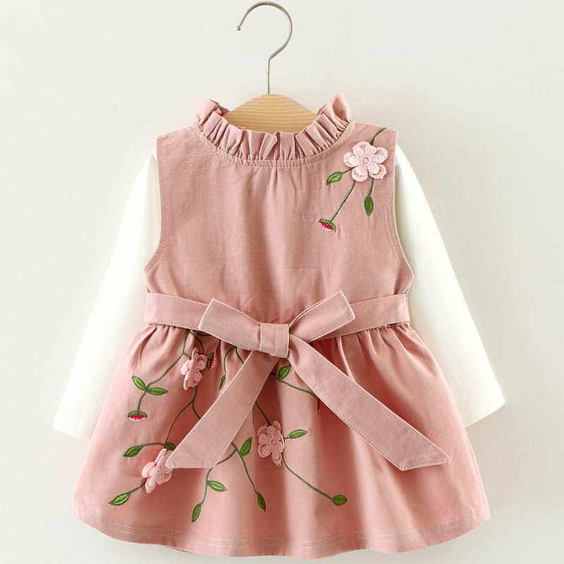 Newest Style Summer Baby Child Cotton Vest Baby Princess Girls Toddlers Newborn Flower Dress Birthday Dress 40(China)