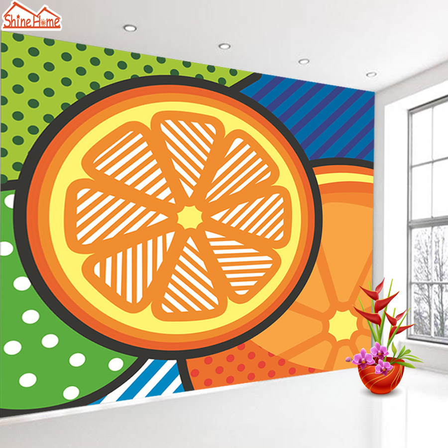 ShineHome-Modern POP Art Orange Abstract Background Wallpapers Rolls 3d Wallpaper for Walls 3 d Livingroom Kids Room Paper shinehome modern banana leaf strip abstract background wallpapers rolls 3 d wallpaper for livingroom walls 3d kids room paper