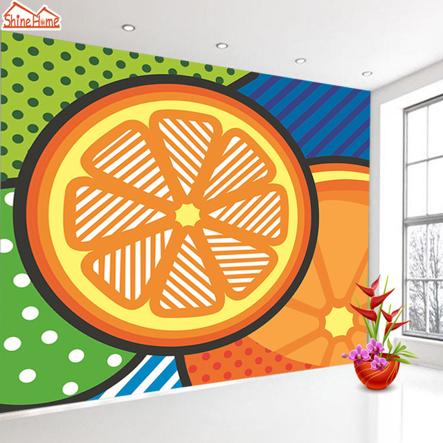 ShineHome Modern POP Art Orange Abstract Background Wallpapers Rolls 3d Wallpaper For Walls 3 D