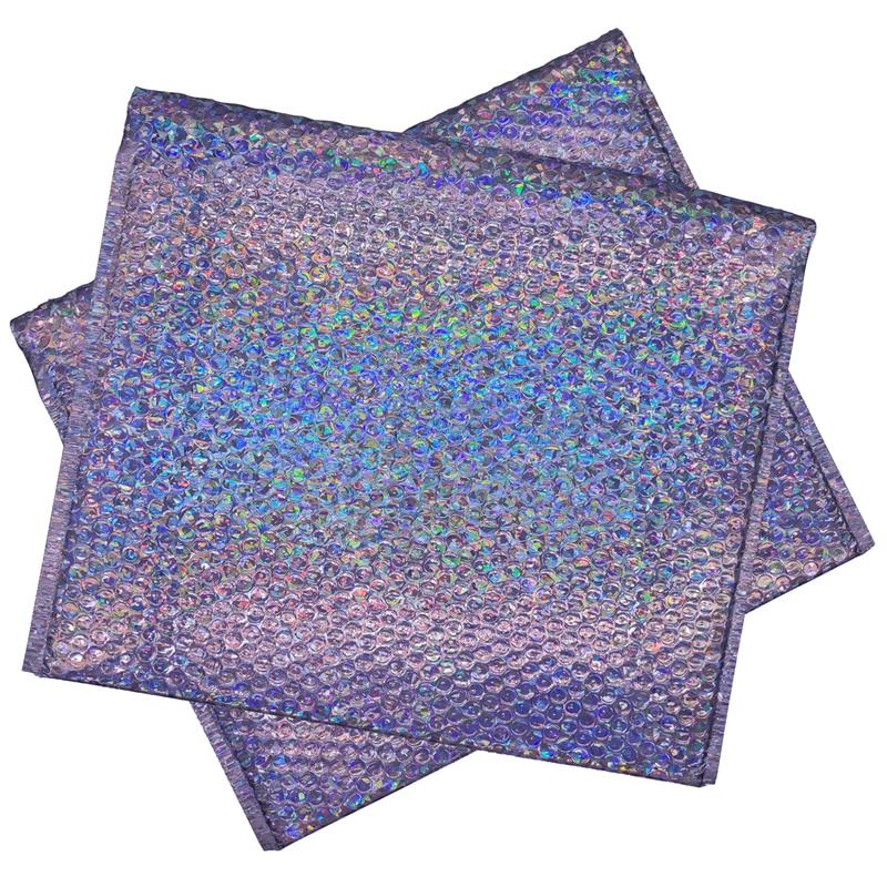 20pcs Large Holographic Bubble Envelope Laser Silver Mailer Bag Metallic Padded Envelop for Fragile Product Packaging