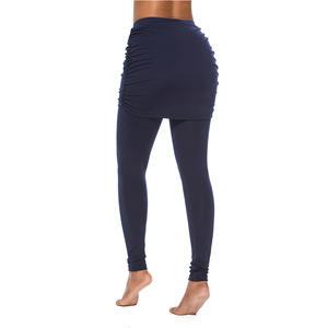 Image 5 - New Running Pants Fashion Women Wrap Folding Hip Side Pleated Skirt Fake Two Pieces Slim Sexy Skirted Leggings High Waist Pants