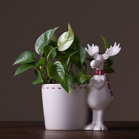 Pastoral style cute elk ceramic desktop plant small flower pot Simple white elk desktop storage jar