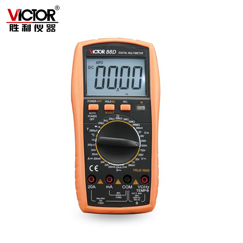 Victor VC88D Multimeter Professional Manual Range 2000 Counts 20A 1000V Resistance Capacitance Inductance Temperature nflc victor digital multimeter 20a 1000v resistance capacitance inductance temp vc9805a