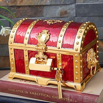 Vintage Home Decoration Big Size Pirate Box Treasure Chest Jewelry Box Organizer Metal Art Craft