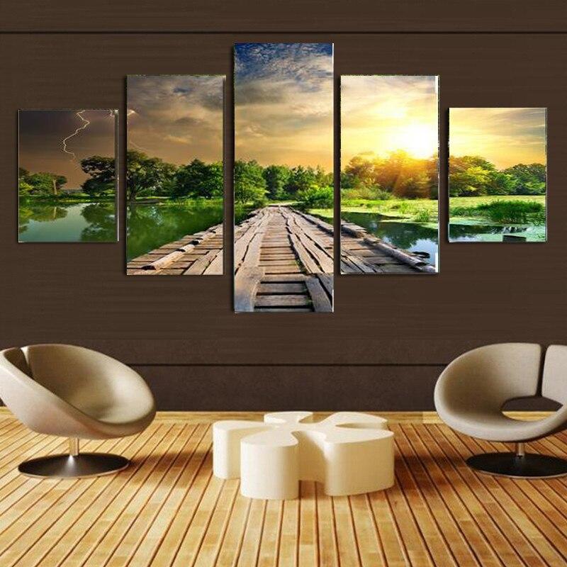 Aliexpress Com Buy 4 Panels Modern Printed Coffee Canvas: Aliexpress.com : Buy No Frame 5 Panel Modern Mural