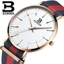 Швейцария BINGER мужчины часы люксовый бренд ультратонкий ограниченным тиражом Водонепроницаемый любителей кварцевые Наручные Часы B-3050M-7