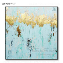 Fashion Wall Art Hand-painted Abstract Aqua Blue Oil Painting on Canvas Colors and Gold