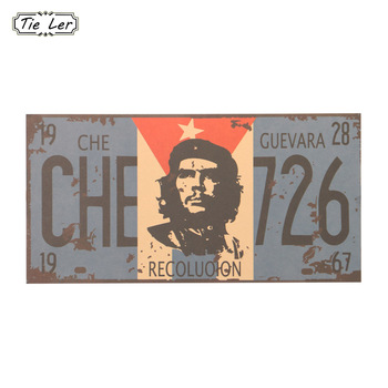 2PCS License Plate Personality Wall Sticker Che Guevara Vintage Kraft Paper Bar Cafe Home 30X15cm image