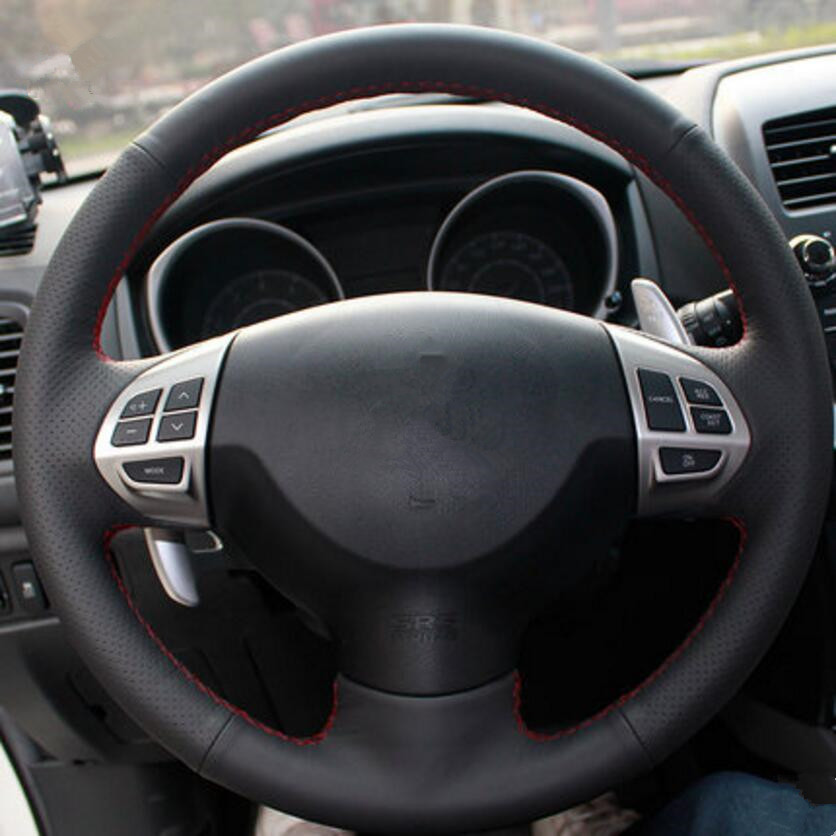 Car-styling Leather Steering Wheel genuine leather skin Cover case For Mitsubishi Outlander ASX Lancer Pajero Delica D5 mewant black genuine leather black suede car steering wheel cover for mitsubishi lancer ex outlander asx colt pajero sport