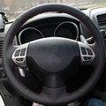 Car-styling diy volante de cuero cosido a mano cubierta de la funda de cuero genuino para mitsubishi asx outlander lancer pajero