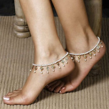 Vintage Retro Sweet Pearl Crystal Beaded Stretch Anklets Barefoot Sandals Foot Chain Bracelet Jewelry Anklet For Women Gifts