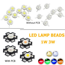 10 Pcs Lampu LED DIY Dioda Grosir Lampu Chip Lampu Manik-manik Putih Merah Biru Kuning SMD LED Tongkol Chip dengan PCB 1 W 3 W High Power(China)