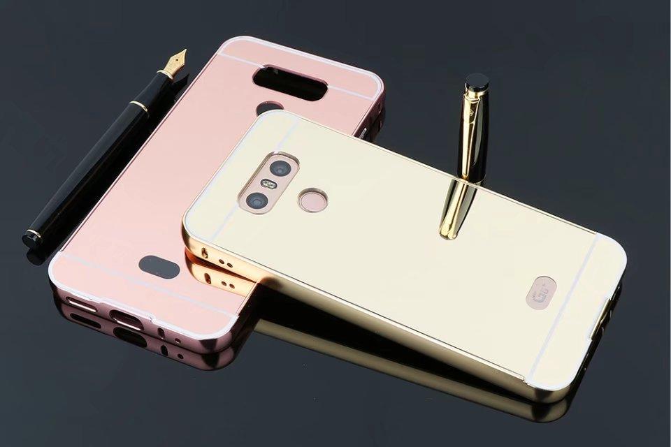 Роскошные модные покрытие 24 К золото зеркало акрил сзади Алюминий металла Рамки 2 в 1 съемный чехол для LG G6 капа Celular G6 плюс