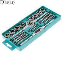 DRELD 20Pcs Metric Taps Dies Wrench Handle Tap and Die Set M3 M12 Alloy Steel Screw Thread Plugs Straight Taper Drill Hand Tools
