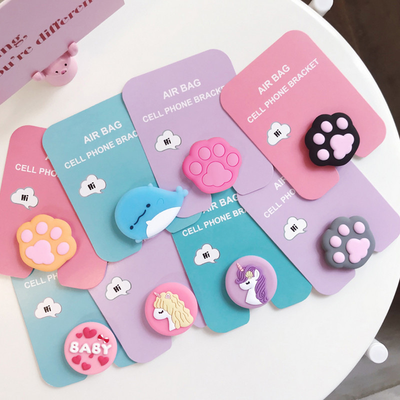 Applicable To For Iphone Samsung Huawei Silicone Expansion Bracket And Grip Bracket Telescopic Cute Cat Cute Unicorn