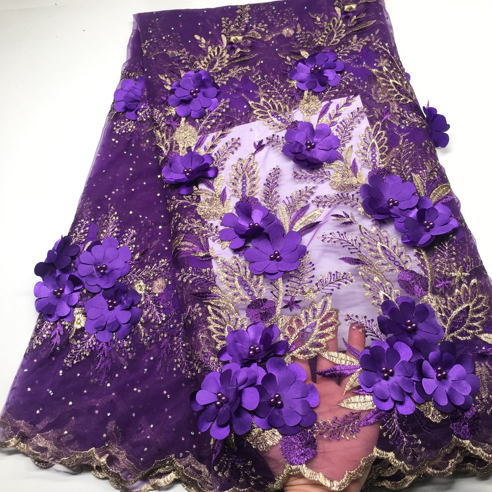 Nigerian Lace Fabrics For Wedding 2019 African French Lace Fabric High Quality 3D Lace Purple Gold