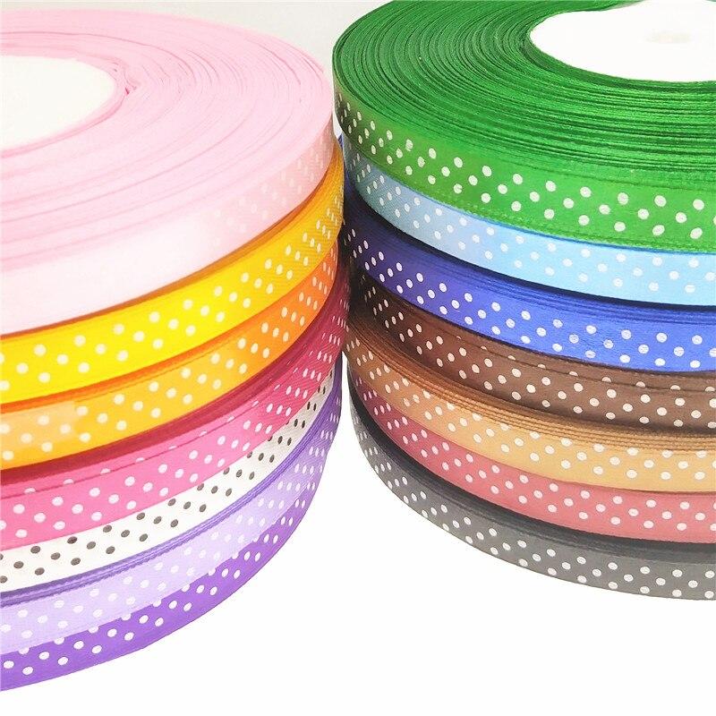 30 ярдов Новое поступление 3/8 «мм (10 мм) атласная лента Полька печатные ленты с точками с белыми точками, DIY аксессуары для бантов больше цветов