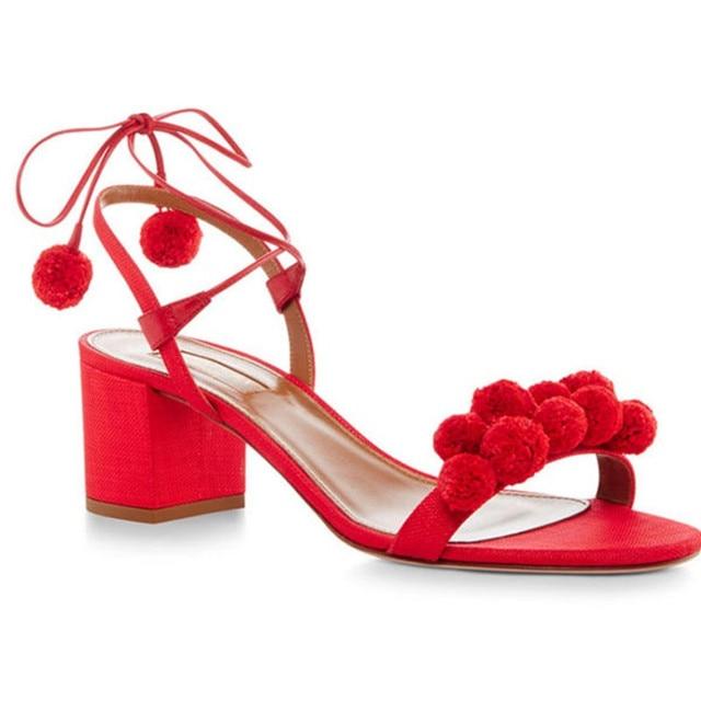 Us 48 04 22 Off Sommer Gladiator Sandalen Frauen Schuhe High Heels 5 Cm Lace Up Pom Pom Sandalen Frauen Offene Spitze Sexy Denim Sandalen Frau B