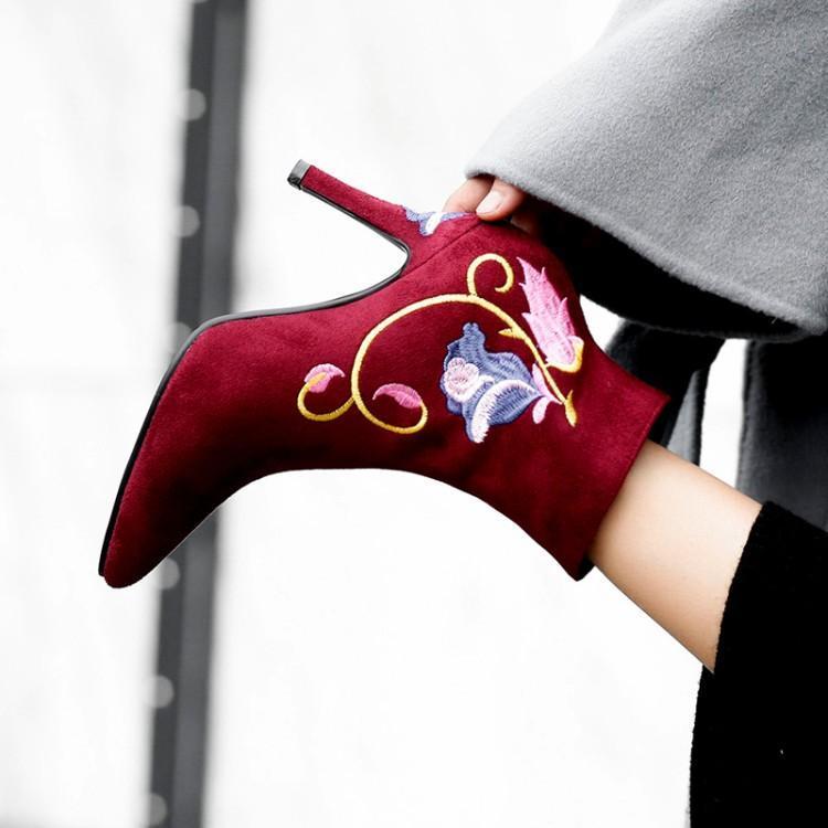 Suede Pointu Pour vin Femme Luxe Noir Bout Main De Fleurs Chic Cheville Rouge Abricot noir Broder Chaussures Beige Côté Piste Femmes À La Bottes Zip X60qwqRvS
