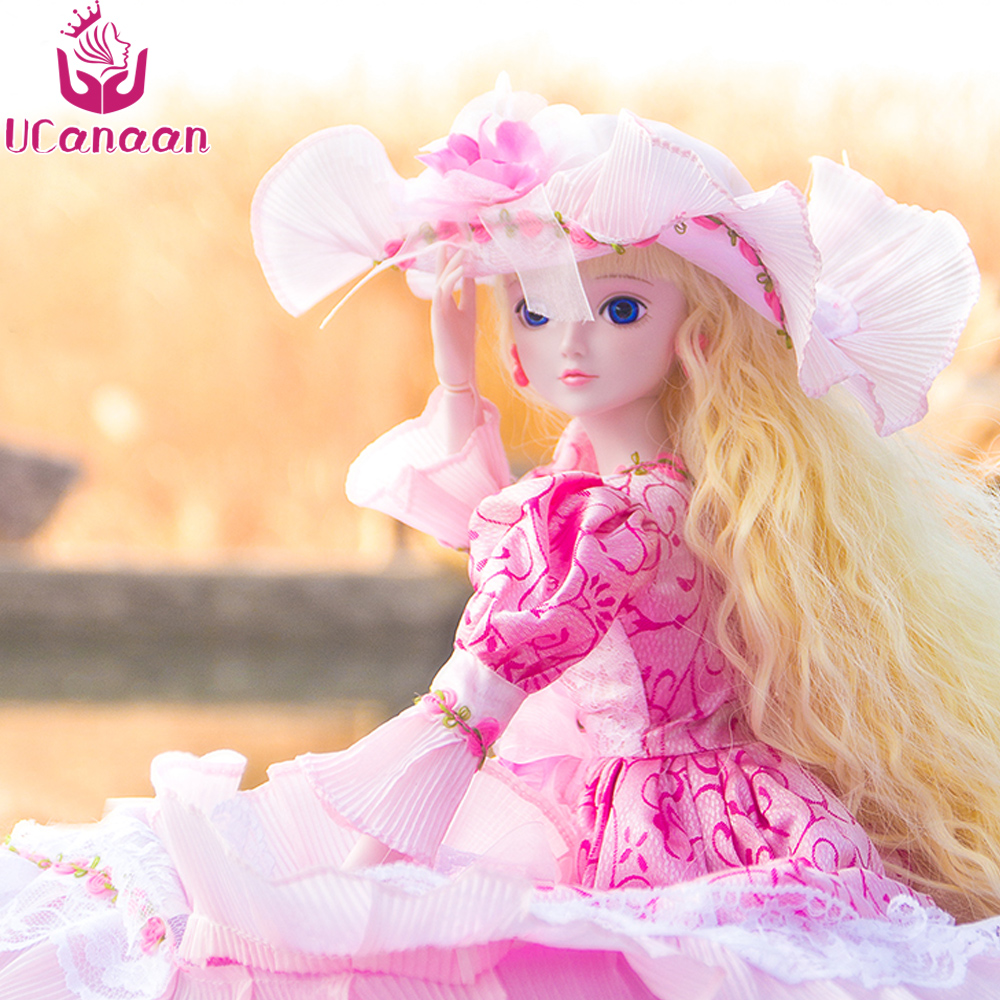 Ucanaan 1/3 Large BJD/SD Doll Joints Moveable Toys Model Beautiful Princess Offer Hat Dress Make Up The Most Valuable Collection uncle 1 3 1 4 1 6 doll accessories for bjd sd bjd eyelashes for doll 1 pair tx 03