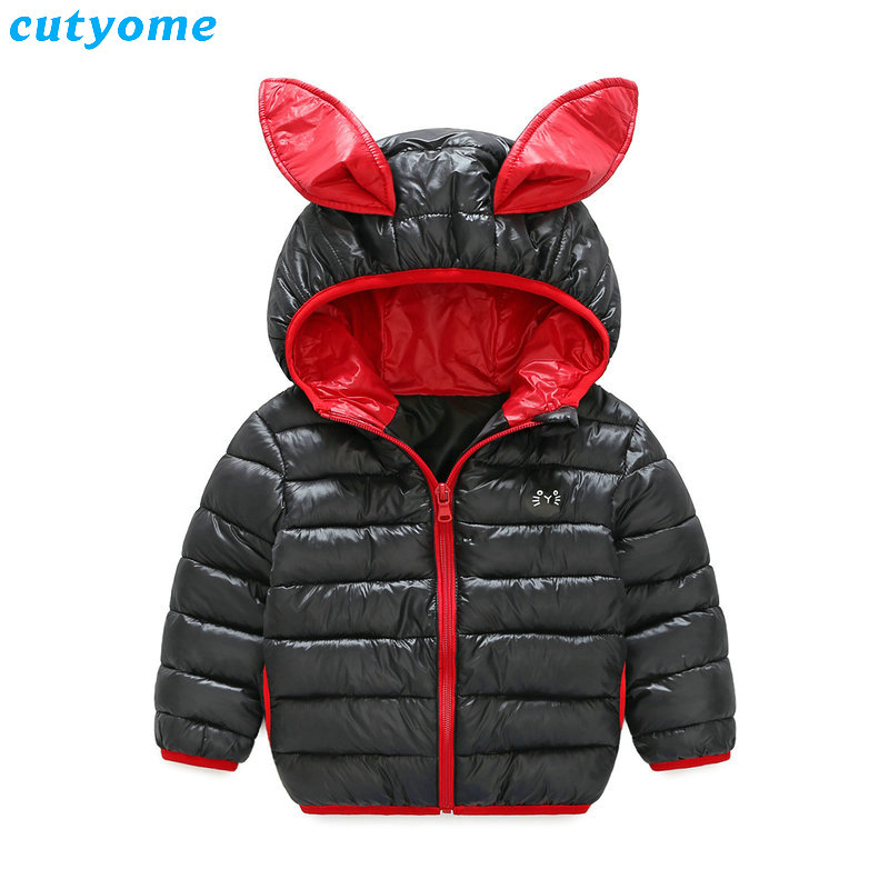 Winter Baby Boys Girls Hooded Down Jackets Rabbit Ear Costumes Children Kids Parkas Down Coat Warm Outerwear Thickening Clothes children winter coats jacket baby boys warm outerwear thickening outdoors kids snow proof coat parkas cotton padded clothes