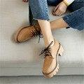 Плюс Размер 34-43 Британский Стиль Женщины Оксфорды Весна Зашнуровать Круглым Носком Случайные Дамы Моды Старинные Туфли На Платформе женщина Случайные