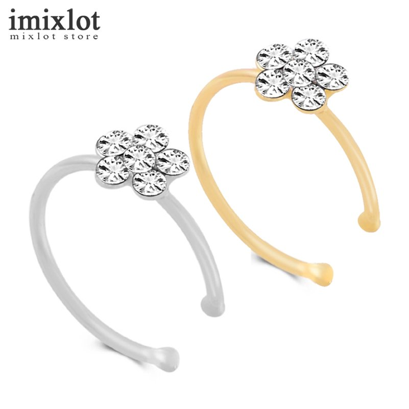 2 Pcs Stainless Steel Circular Nose Ring Circular Punk Small Thin Clear Rhinestone Flower Lip Ear Nose Clip On Fake Piercing