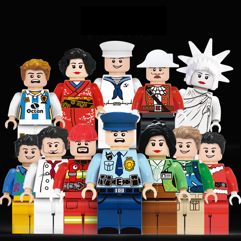 12pcs/lot Compatible LegoeINGly Building Blocks Figures brick DIY Assemble Doll toys Figures city Police soldier military sets 8 in 1 military ship building blocks toys for boys