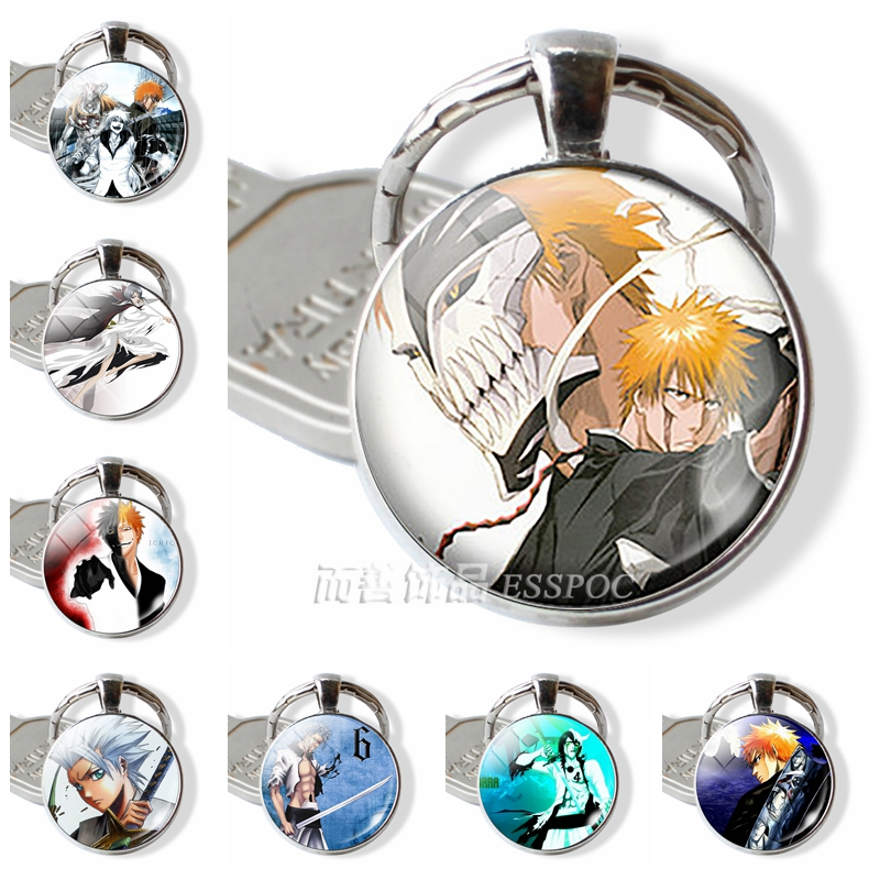 Jewelry Bleach Pendant Glass Dome Keychain Keyring Ichigo Kurosaki Shinigami Hollow Mask Fashion Accessories Anime Manga Gift