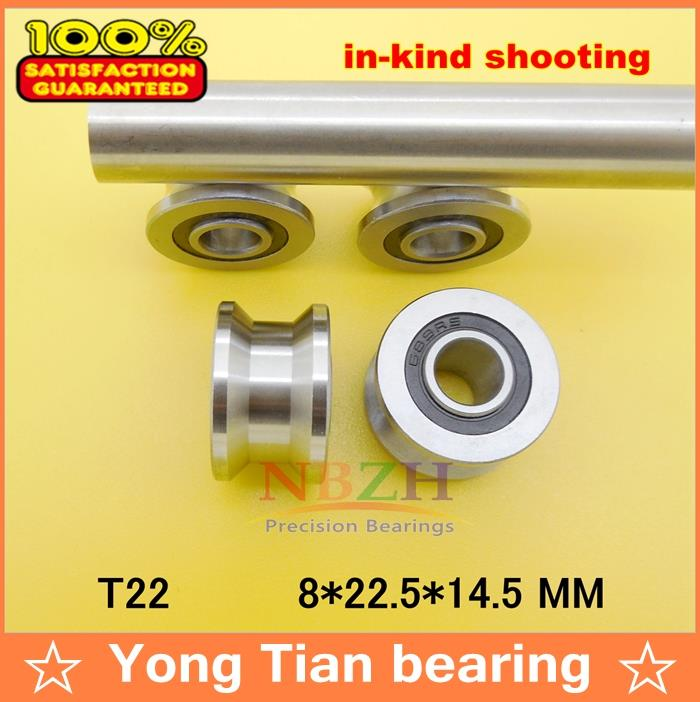 10pcs/lot high quality TU22 8mm V / U groove pulley bearings T22 8*22.5*14.5*13.5 mm V groove roller wheel ball bearing T-U-22 free shipping 10pcs tu16 t16 u16 t16 5 abec5 6mm pulley bearings 5x16 5x9x11mm u groove roller wheel ball bearing t u 16