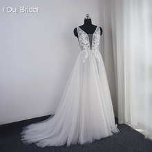Pearl Wedding Dress with Lace Appliques Boho Chic Bridal Gown Beach Style Light Weight Factory Real Photo