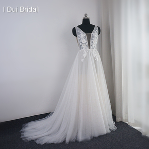 Image 1 - Pearl Wedding Dress with Lace Appliques Boho Chic Bridal Gown Beach Style Light Weight Factory Real Photo