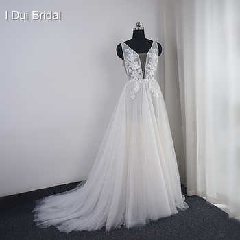 Pearl Wedding Dress with Lace Appliques Boho Chic Bridal Gown Beach Style Light Weight Factory Real Photo - Category 🛒 Weddings & Events