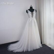 레이스 appliques와 진주 웨딩 드레스 boho 세련된 신부 가운 비치 스타일 가벼운 무게 공장 진짜 사진