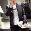 Xiya way autumn paragraph pu leather jacket men shirt solid color casual jacket baseball jacket collar tide