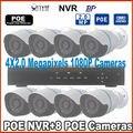 Бесплатная доставка 8-КАНАЛЬНЫЙ 1080 P POE Комплект POE NVR HDMI 8 ШТ. 2.0mp POE, ip-камера водонепроницаемый открытый главная ВИДЕОНАБЛЮДЕНИЯ Системы Видеонаблюдения комплект