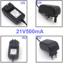 VORED 1PCS Lithium battery Power Supply Adapter Charger 21V 500mA US/EU/UK/AU Plug Converter DC 5.5*2.1mm Adaptor Free Shipping