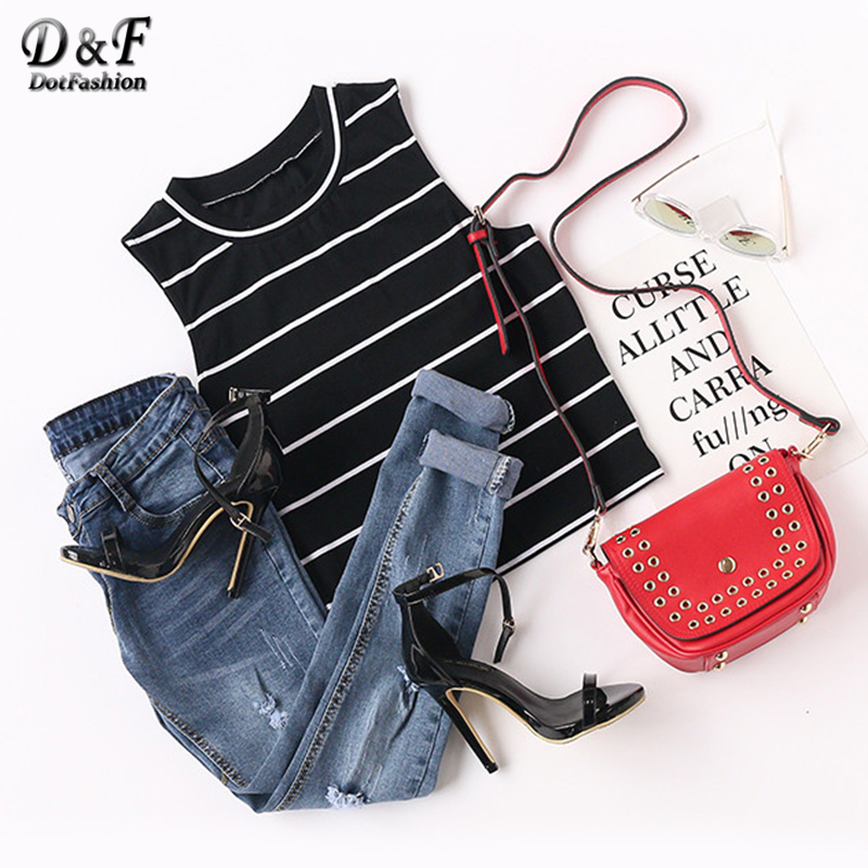 Dotfashion Women Striped Tank Top 2017 Summer Ladies Casual Vest New Arrival Crop Tops Fashion Crew Neck Tank