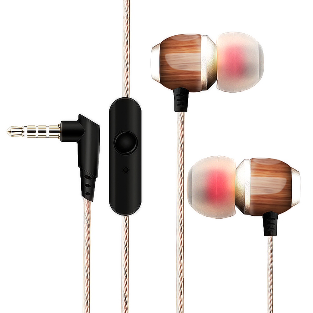 Universal Wood Wired In Ear Earbuds Subwoofer Noise Cancelling Earphone Earpiece With Microphone for MP3 MP4 Computer Cellphone 3 5mm plug single ear earphone w microphone for cellphone mp3 computer black
