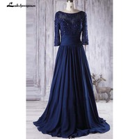 Elegant Navy Blue Mother of The Bride Dresses Long Sleeve Chiffon Dress With Beading Illusion Mother of the Bride Dresses